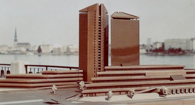 Рига. Таким в 1970-е годы виделось советским проектировщикам здание радиотелецентра на острове Закюсала