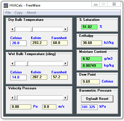 HVAC Calculator, a free software for Psychrometric analyzing - Psychrometry Program to obtain the properties of atmospheric air.