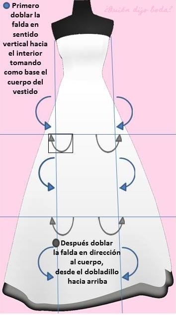 Cómo doblar un vestido de novia