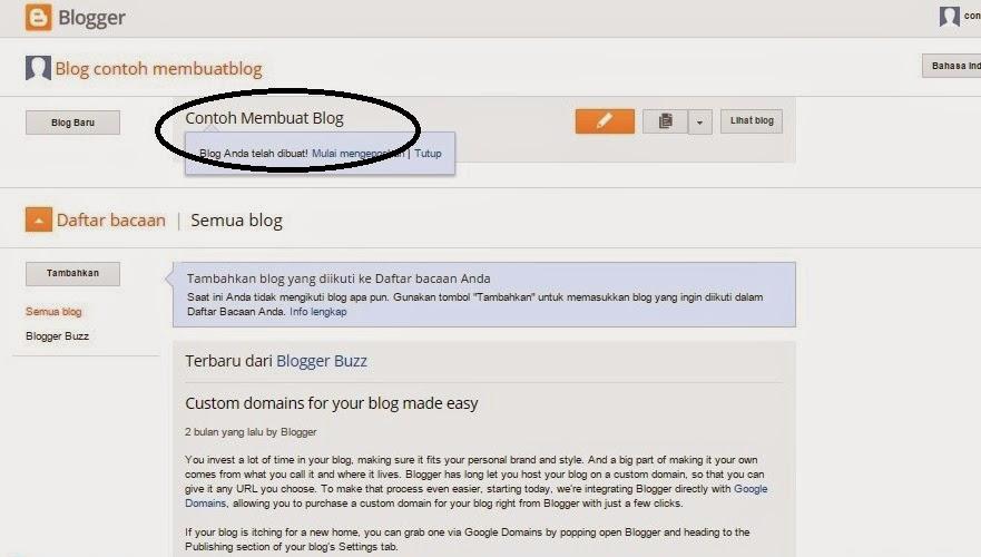 Langkah Kelima Membuat Blog Gratis