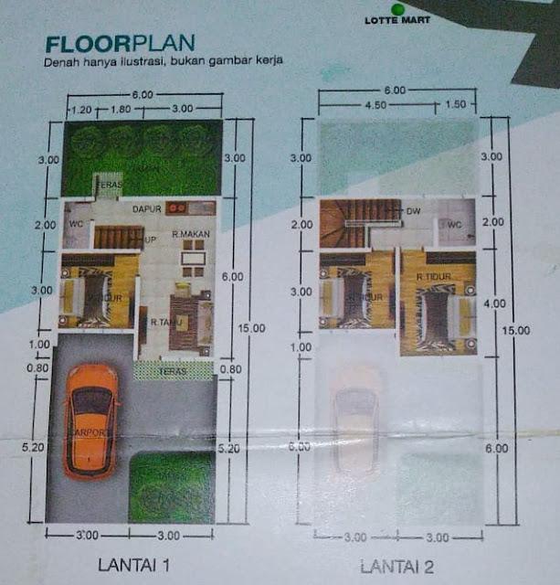 Floor Plan Gaperta Harmony rumah murah minimalis 500 Juta 2 lantai lokasi sangat strategis di Jalan Banten Gaperta Ujung Medan