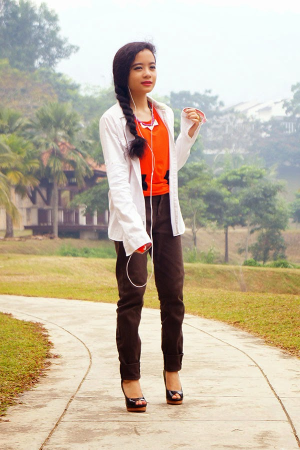 Summer is Calling, SEA Citizen Mod Panel Jersey Tee Tangerine Black, White Oversized Shirt, TOMS Girl Skinny Jeans, Vincci Peep Toe Heels, Vincci Accessories, Gold Rings