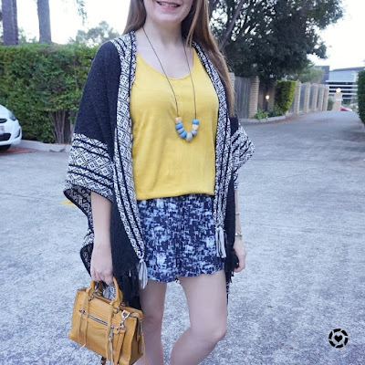 awayfromblue print mixing Rebecca Minkoff Ruana poncho mustard and blue tank and shorts micro regan bag