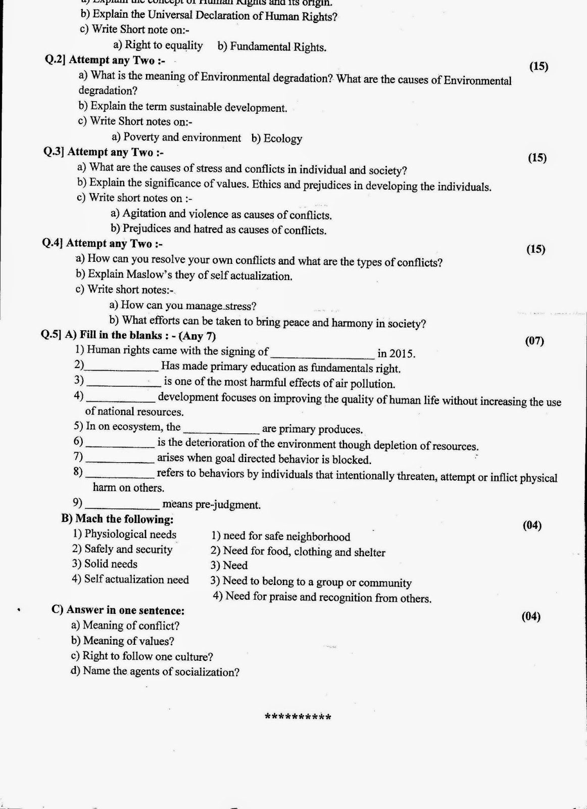 Question Papers Collection Fy Sem Ii Final Exam 15