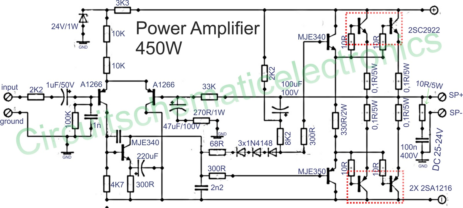 Transistor 5000w Audio Amplifier Circuit Diagram - 450w Amplifier Schematics  - Transistor 5000w Audio Amplifier Circuit