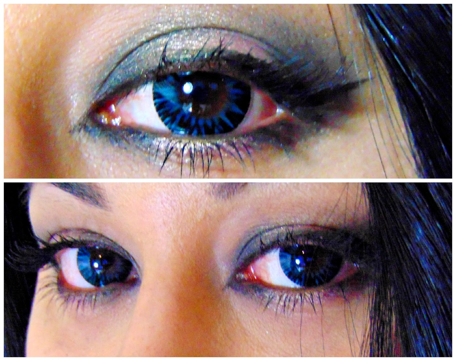 spooky eyes blue shimmer contact lenses chocolate lipstick