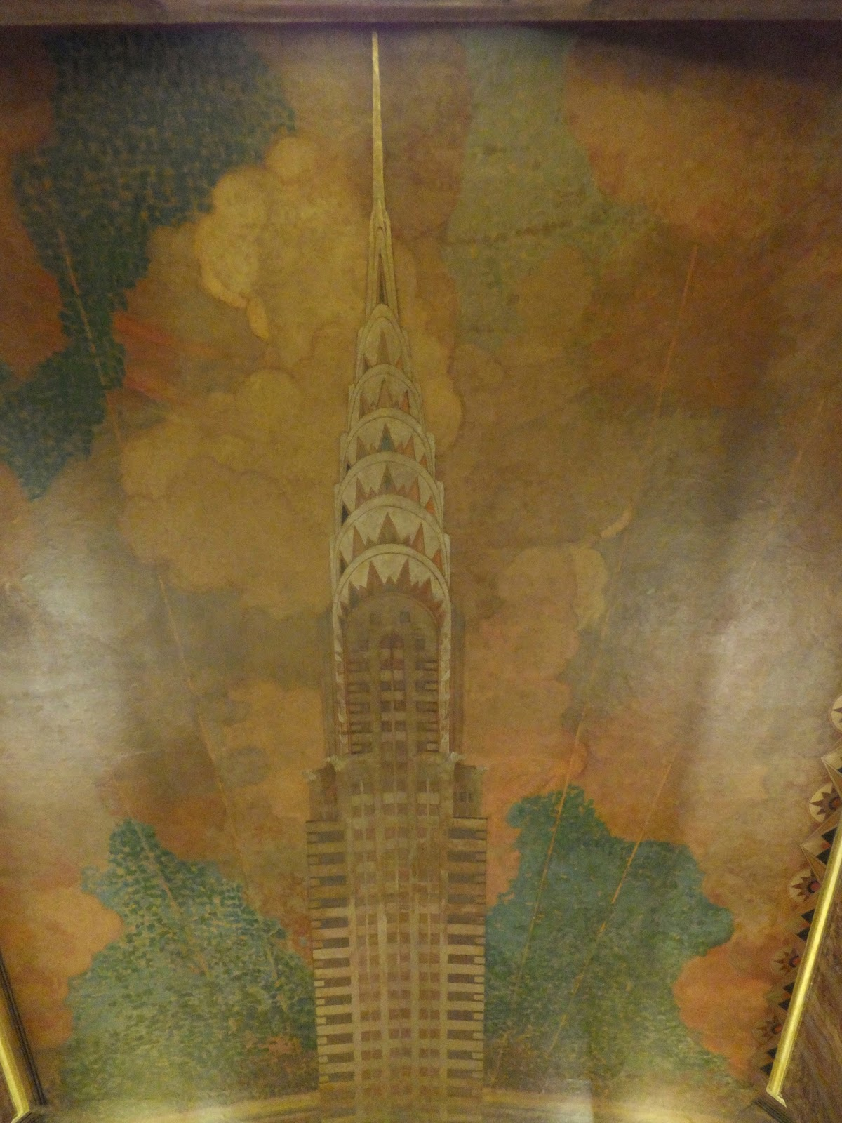 Merry syracuse nyc mural of chrysler building in the lobby for Chrysler building lobby mural