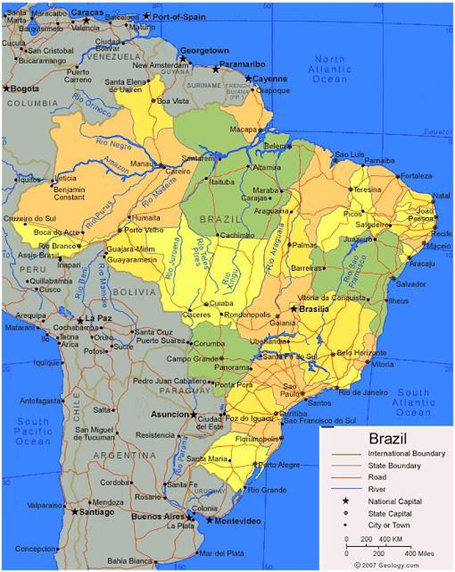 Gambar Peta wilayah Negara Brazil HD