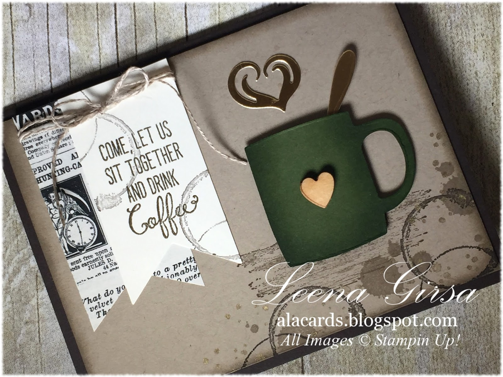I Added A Little Wooden Heart From The Love Blossoms Embellishment Kit To Mug Spoon And Steam Are Die Cut Gold Foil Sheets Also Using