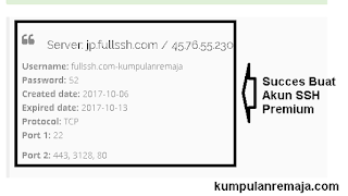 Succes membuat akun SSH Premium Server japan