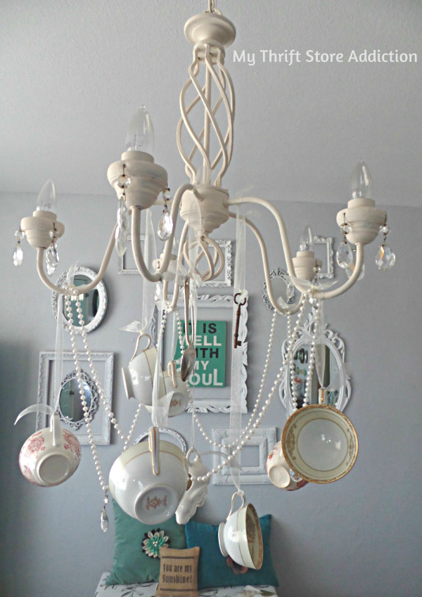 DIY whimsical teacup chandelier