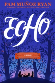 Cover of Echo, featuring the silhouettes of three children between the symmetrical silhouettes of four trees.