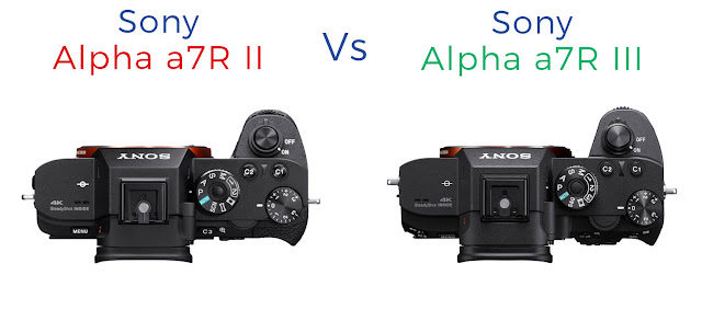 Comparison of the top panels of the Sony a7R II vs a7R III mirrorless cameras