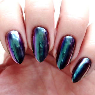 Blue Green Chrome Nails
