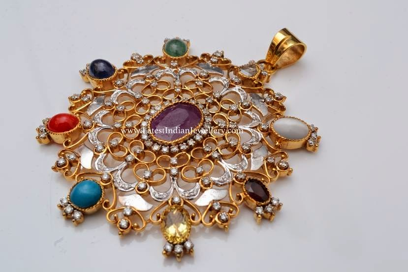 Gorgeous Navaratna Diamond Pendant
