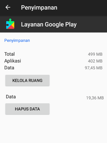 Hapus Data Google Play