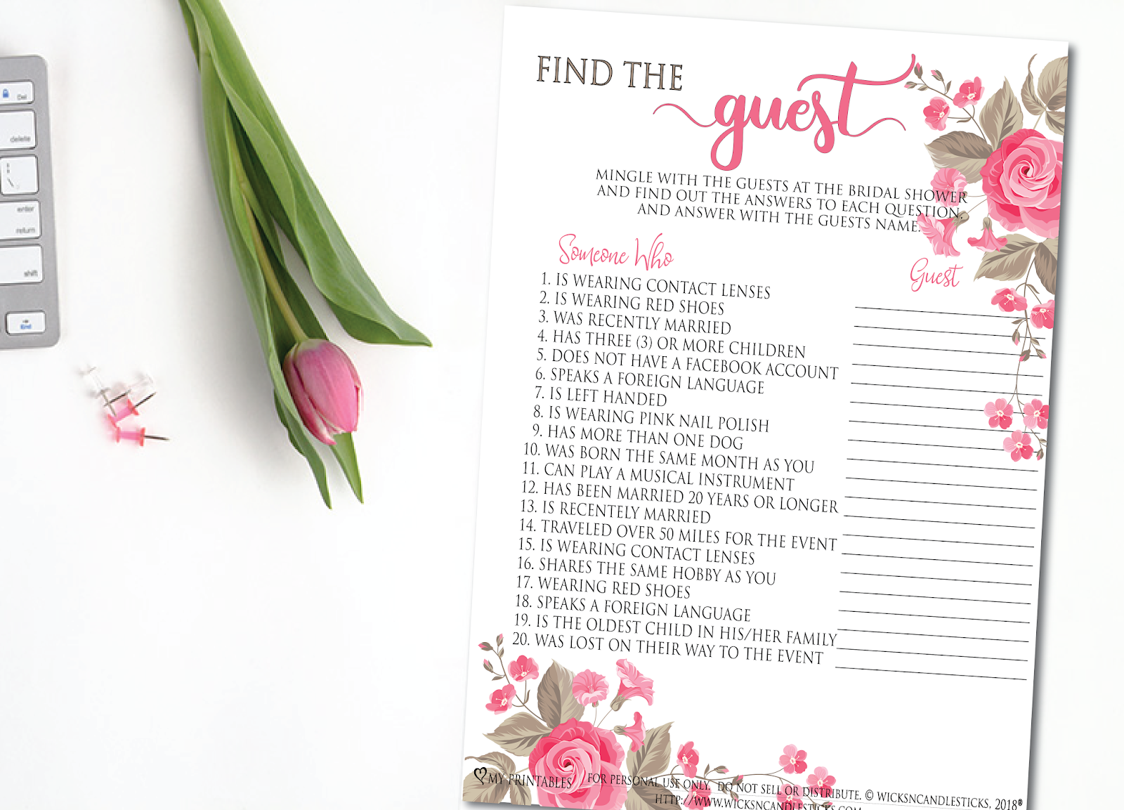 a super fun bridal shower game find the guest free printable game