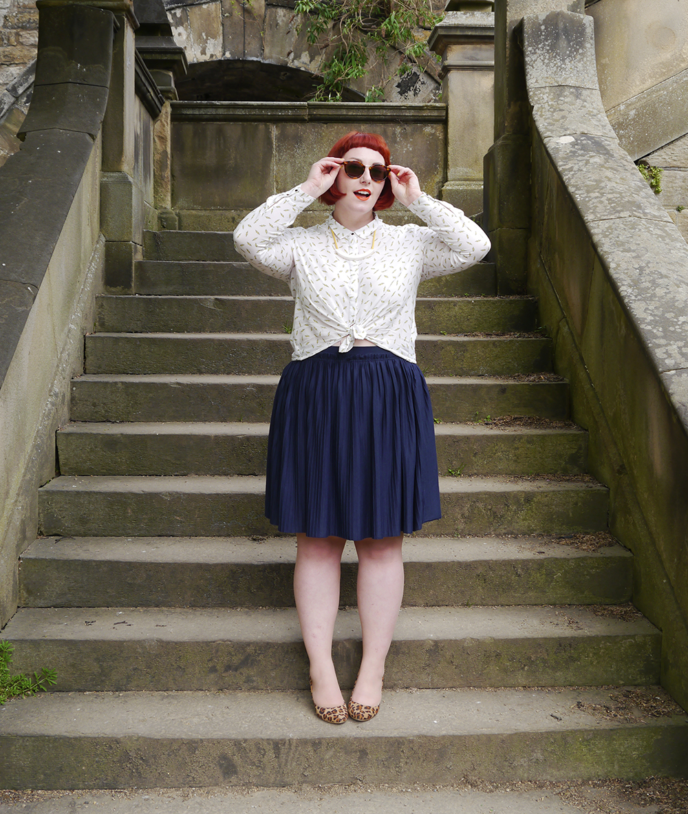 Scottish blogger, red head, Scottish street style, fun street style, colourful street style, colourful blogger, colourful outfit, red bob, ginger bob, sunlglasses style, #seewithiolla, iolla, Beth lamont necklace, yellow accessories, lightning bolt shirt, patterned shirt, leopard print shoes, summer style