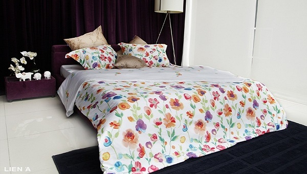 bộ chăn ga gối Liên Á Floral F10140 chính hãng