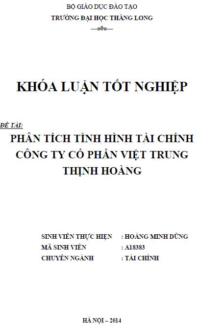 Phân tích tình hình tài chính Công ty Cổ phần Việt Trung Thịnh Hoàng