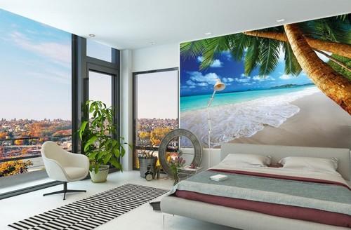 maisematapetti ranta valokuvatapetti ranta huoneissa on seinään palm meri trooppinen ranta
