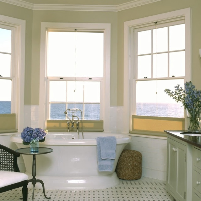 Charming traditional coastal decor in bathroom of Malibu beach house by Giannetti Home
