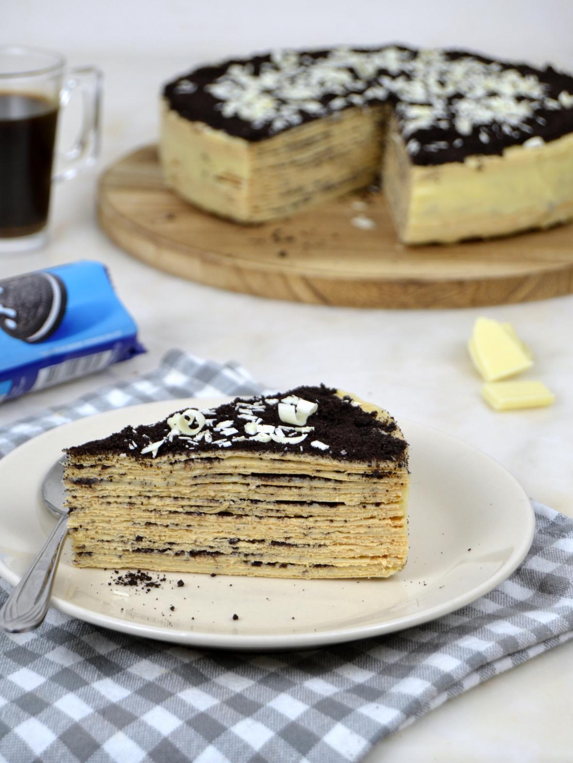 Tarta De Obleas Y Chocolate Blanco Con Oreos Sin Horno
