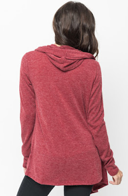 Buy Now Burgundy Hooded Cardigan Online $10 -@caralase.com