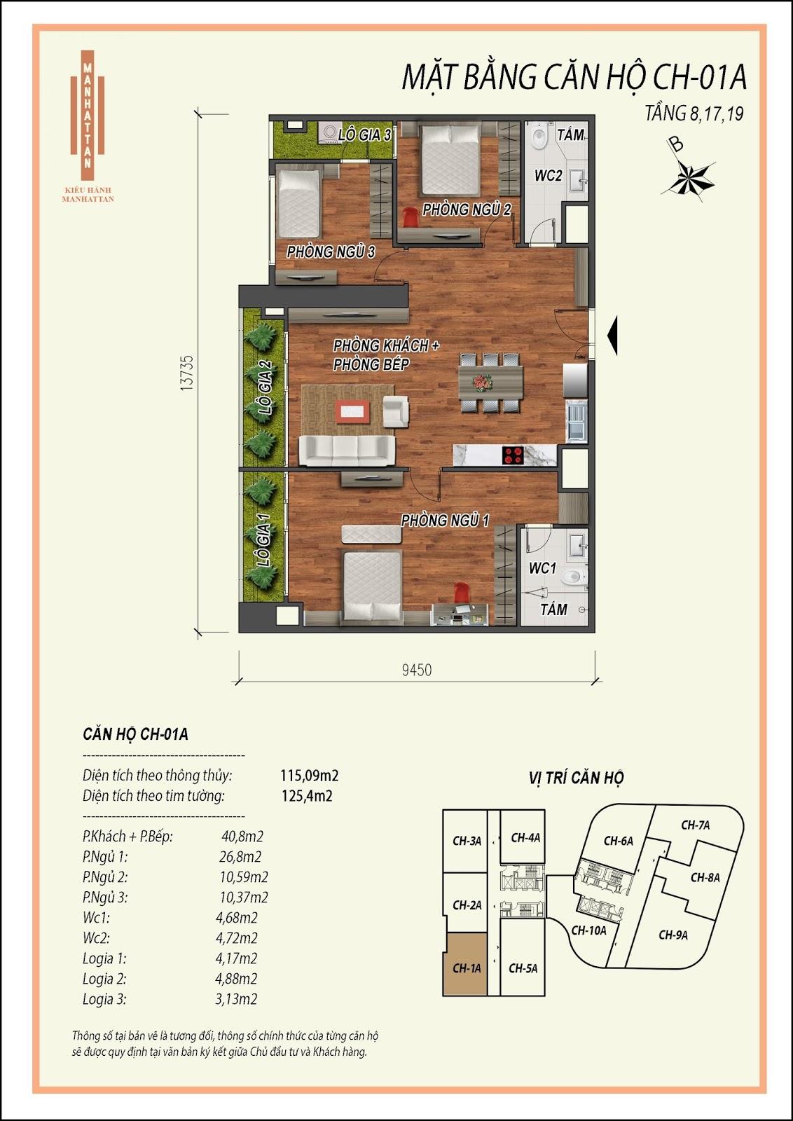 Thiết kế căn hộ 01A, diện tích 115,09m2, có 03 phòng ngủ