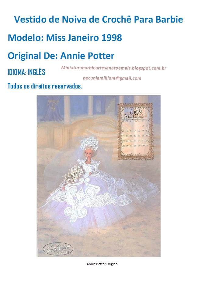 Vestido de Noiva de Luxo em Crochê Para Barbie 3ª Parte Crochê Para Barbie -   PAP - Tradução