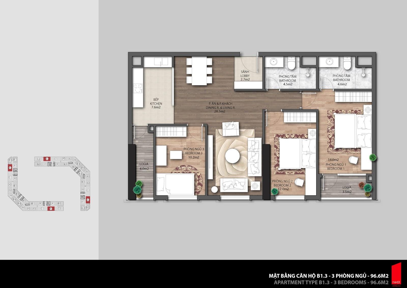Mặt bằng căn hộ 96,6m2