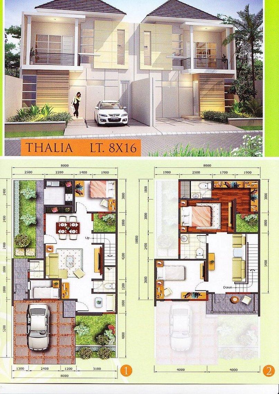 denah rumah type 100 1 2 lantai kreatif