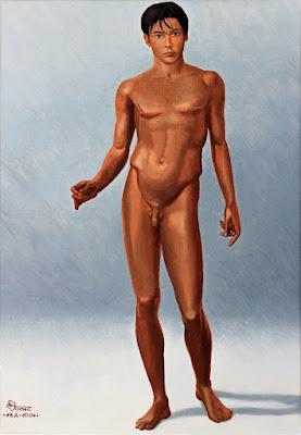 étude, jeune homme, nu, huile, peinture, humanisme, renaissance italienne,
