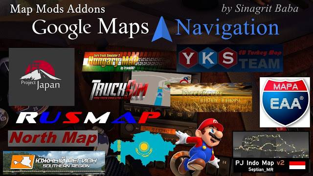 sinagrit baba ets 2 mods, ets 2 google maps navigation normal & night version map mods addons