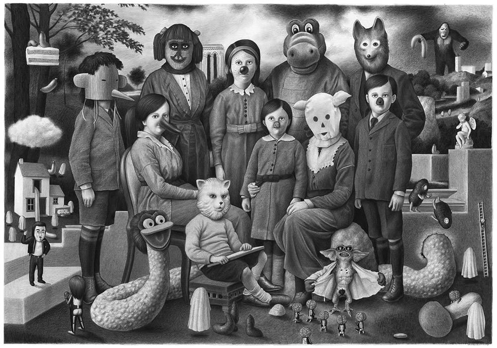 07-Family-Portrait-Amandine-Urruty-Surreal-Drawings-not-for-Children-www-designstack-co