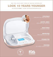 Microdermabrasion home skincare system, removes dead skin cells, opens pores, promotes growth of new skin, reduces fine lines and wrinkles and dark spots, brightens skin, softens skin