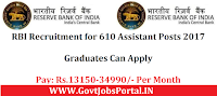 RBI Recruitment for 610 Assistant Posts 2017