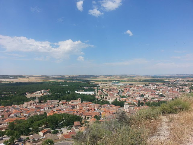View of town near archaeological site in northern Spain