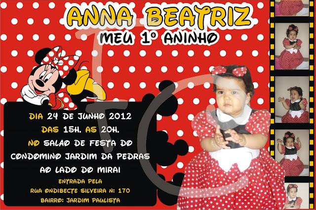 Convite 10X15 cm. - Tema Minnie Vermelha