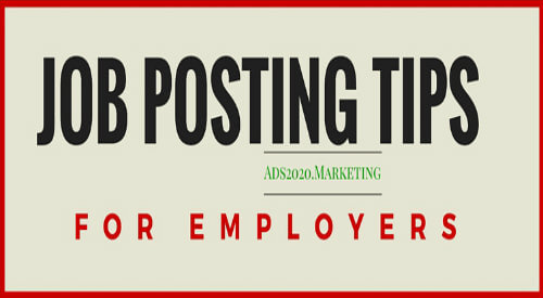 Job posting tips for employers to hire online at ads2020.marketing -500x275