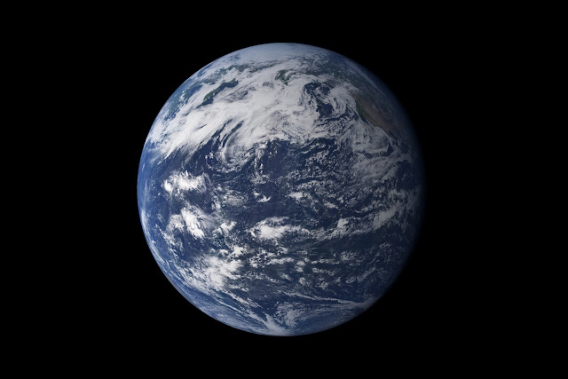 "Viewed from space, the most striking feature of our planet is the water. In both liquid and frozen form, it covers 75% of the Earth's surface. It fills the sky with clouds. Water is practically everywhere on Earth, from inside the rocky crust to inside our cells.  This detailed, photo-like view of Earth is based largely on observations from the Moderate Resolution Imaging Spectroradiometer (MODIS) on NASA's Terra satellite. It is one of many images of our watery world featured in a new story examining water in all of its forms and functions. Here is an excerpt:  ""In all, the Earth's water content is about 1.39 billion cubic kilometers (331 million cubic miles), with the bulk of it, about 96.5%, being in the global oceans. As for the rest, approximately 1.7% is stored in the polar icecaps, glaciers, and permanent snow, and another 1.7% is stored in groundwater, lakes, rivers, streams, and soil.  Only a thousandth of 1% of the water on Earth exists as water vapor in the atmosphere. Despite its small amount, this water vapor has a huge influence on the planet. Water vapor is a powerful greenhouse gas, and it is a major driver of the Earth's weather and climate as it travels around the globe, transporting heat with it.  For human needs, the amount of freshwater for drinking and agriculture is particularly important. Freshwater exists in lakes, rivers, groundwater, and frozen as snow and ice. Estimates of groundwater are particularly difficult to make, and they vary widely. Groundwater may constitute anywhere from approximately 22 to 30% of fresh water, with ice accounting for most of the remaining 78 to 70%.  Image Credit: Robert Simmon and Marit Jentoft-Nilsen/MODIS Explanation from: http://earthobservatory.nasa.gov/IOTD/view.php?id=46209"