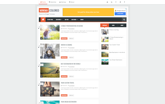 Minima Colored 2 Responsive Blogger Template