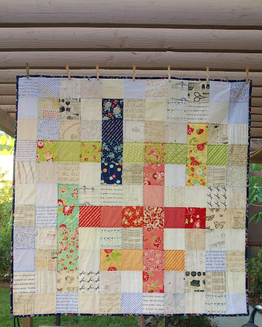 Crossword Puzzle Quilt by Fabric Mutt