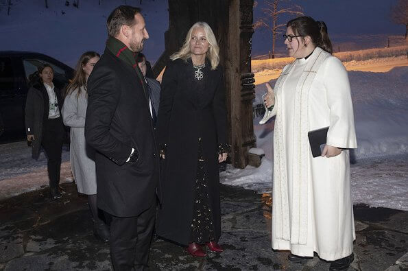 Crown Princess Mette Marit wore H&M x Giambattista Valli dress. Princess Ingrid Alexandra, Prince Sverre Magnus and Marius Borg Høiby