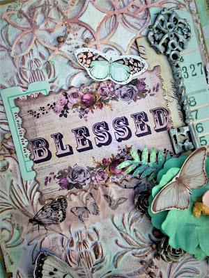 Sara Emily Barker http://sarascloset1.blogspot.com/ Prima Havana Shabby Chic Card #prima #havana #lavender #rosegoldwax #timholtz #3D embossing #botanicaltexturefade 4