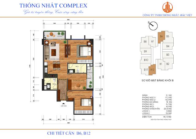 Mặt bằng căn B6 - B12 tòa B chung cư Thống Nhất Complex