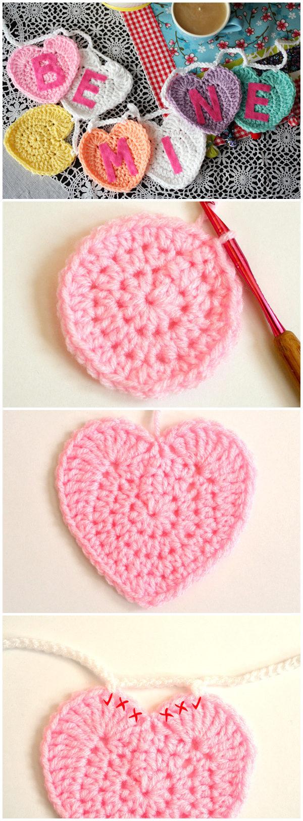 Free Crochet Conversation Heart Garland Pattern