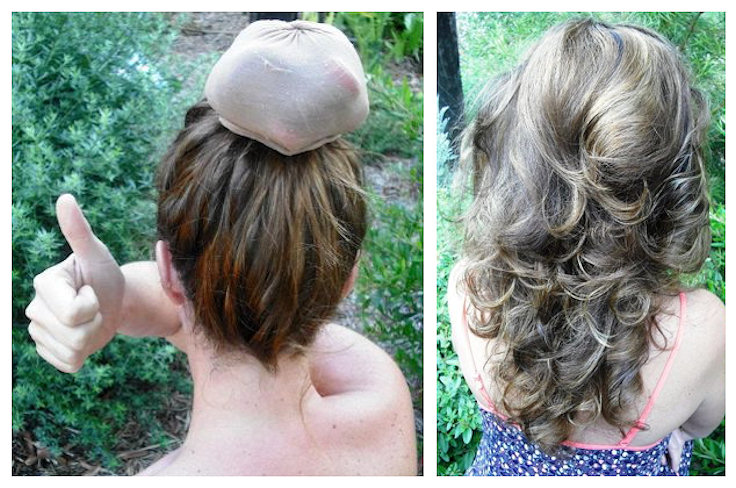 overnight hair curls with stocking