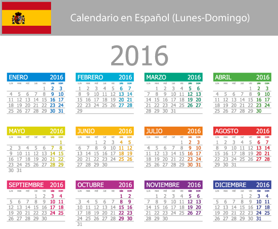 Calendario elemental 2016 en español - Vector