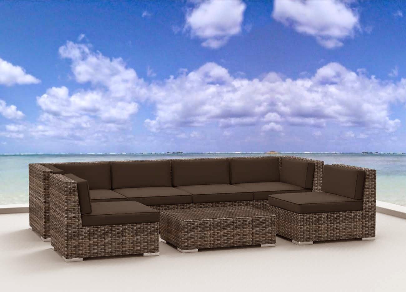 Urban Furnishing Modern Outdoor Backyard Wicker Rattan Patio Furniture Sofa Sectional Couch Set